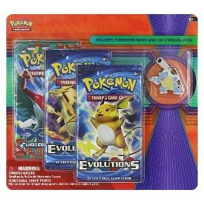 Give your collection a boost! Power up your Pokemon Trading Card Game with 3 booster packs, and show your Pokemon pride with an awesome collector's pin featuring Mega Blastoise.
