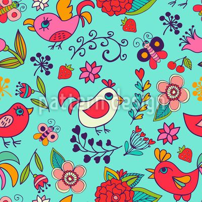Paradise garden - Seamless pattern with birds and flowers.