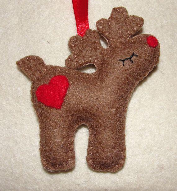Wool Felt Reindeer Christmas Ornaments Felt Reindeer by NitaFeltThings