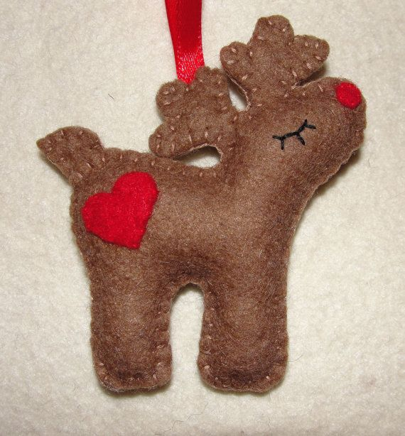Wool Felt Reindeer Christmas Ornaments Felt Reindeer by NitaFeltThings