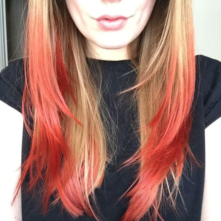 Dark brown hair with red dip dye