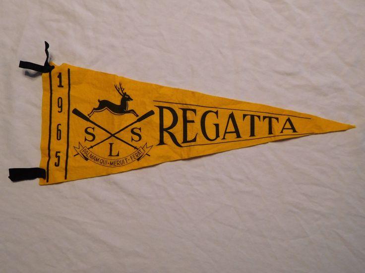 Vintage Pennant Banner 1965 SLS Regatta Palmam Qui Meruit Ferat USC? Rowing Crew | eBay