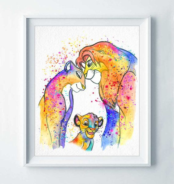 Aquarelle Simba et Nala Le Roi Lion de DROPINDROP