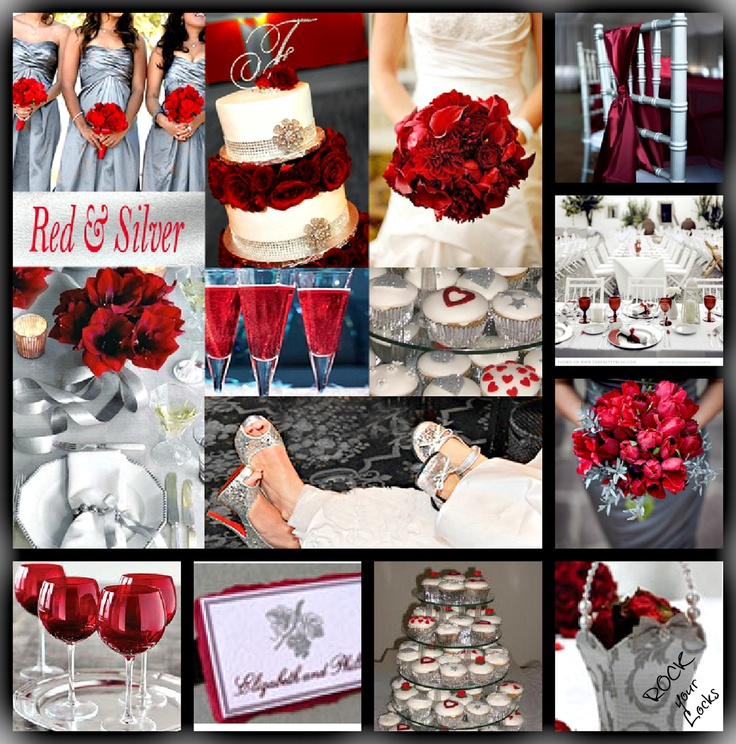 RED SILVER Wedding Inspiration by Rock your Locks http://www.facebook.