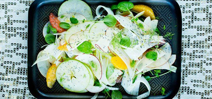 Eple- og fennikelsalat med valmuefrø | Lises blogg