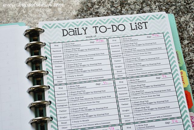 Blog Planner Organization | Make a Daily To Do List! Laminate it so you can re-use it everyday!