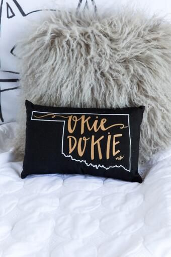 Oklahoma Black State Outline Pillow                                                                                                                                                     More