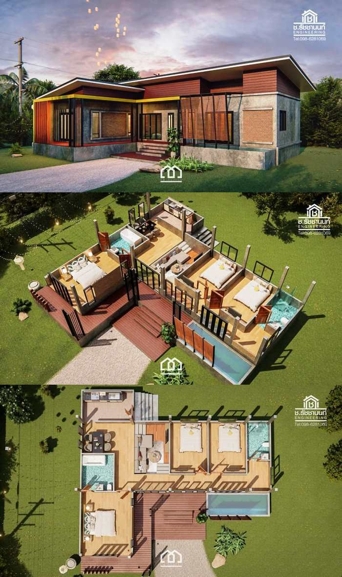 Simple Rest House Design With 3 Bedrooms Rest House Tropical House Design Modern Style House Plans