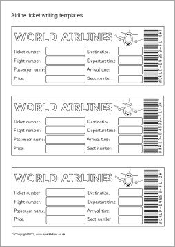 Airline Ticket Boarding Pass Writing Templates Sb7770
