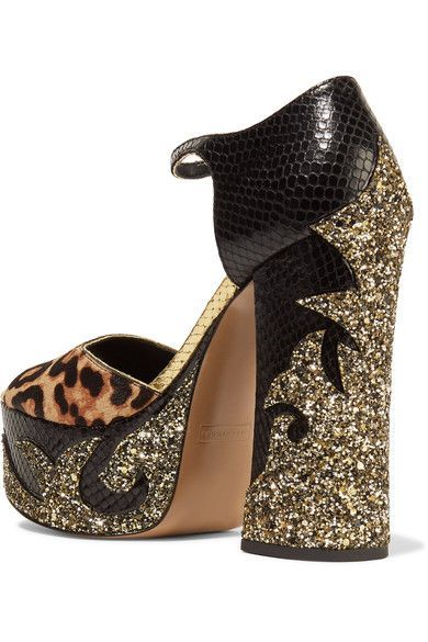 Marc Jacobs - Adriana Leopard-print Calf Hair And Snake-effect Leather Platform Sandals - Black - IT