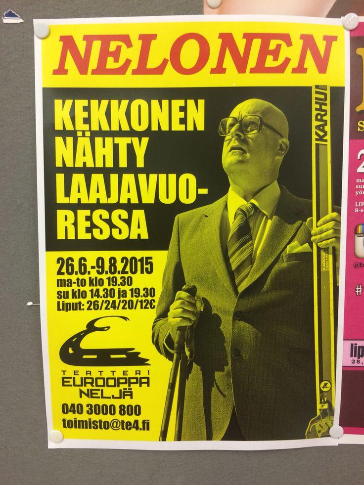 Kekkonen ! Laajavuoressa, Jyväskylässä. Teatteri Eurooppa 4 - pääosassa Antti Niskanen. Suosittelen, huikea setti!