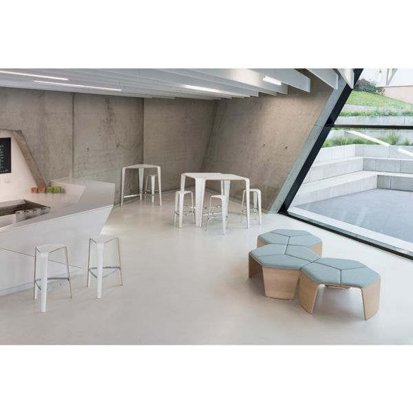 The Hoc range from Brunner is a moulded plywood family of furniture comprised of a bench, stool, and table. Their sculptural design combines the elegance of curved wood with smart steel details, with optional seat pads to add comfort. Hoc is well suited to informal seating areas, such as break out zones, cafe, lounge and reception areas. The moulded plywood can be topped with HPL or finished in a variety of natural oak stains. | Creating Happy Offices | Sound Proof Acoustic Phone Booths…