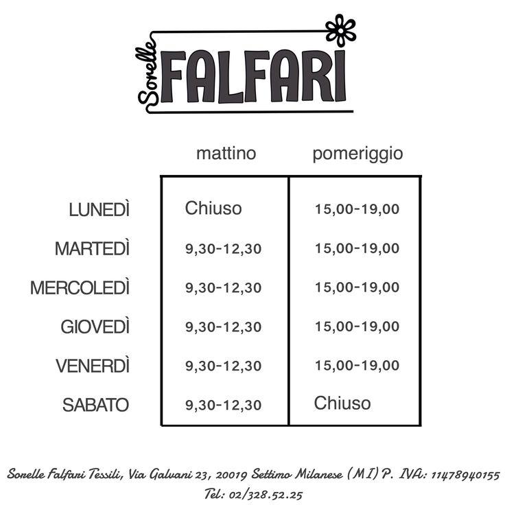 I nostri orari: sorelle Falfari, tessuti e scampoli, settimo ...