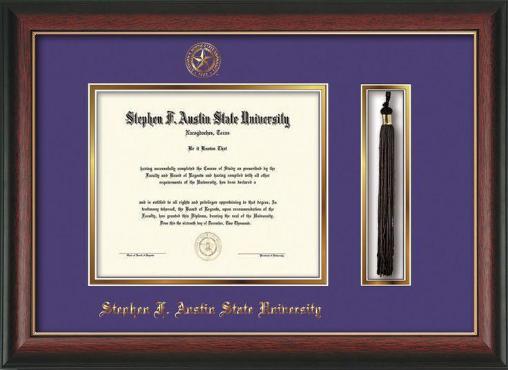 Stephen F. Austin Diploma Frame - Rose Gold Lip - Tassel - Purple/Gold – Professional Framing Company