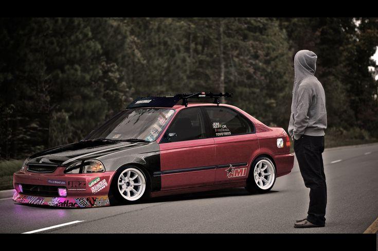 Stanced Honda Civic #GotWraps? #StickerBombWraps ww.rvinyl.com/store/c/587330-Sticker-Bomb-Vinyl-Film-Wraps.html