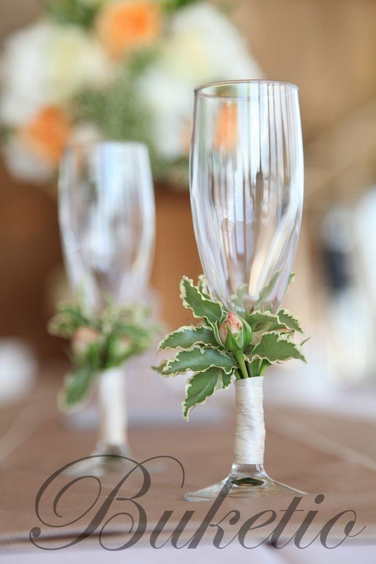 украшение бокалов цветами свадьбу - Поиск в Google