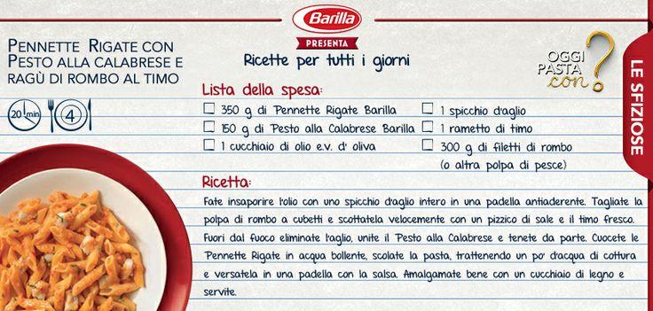 Una ricetta golosa, con un piccolo trucco: pennette rigate con Pesto alla Calabrese e ragù di rombo al timo #Oggipastacon