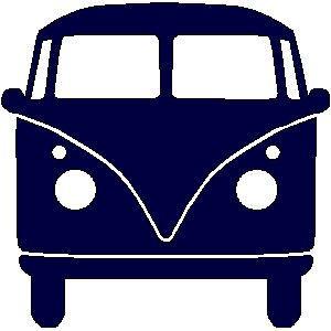 veloursmotief donker blauwe VW bus | Strijk / Veloursmotieven | full color strijkapplicaties en zo