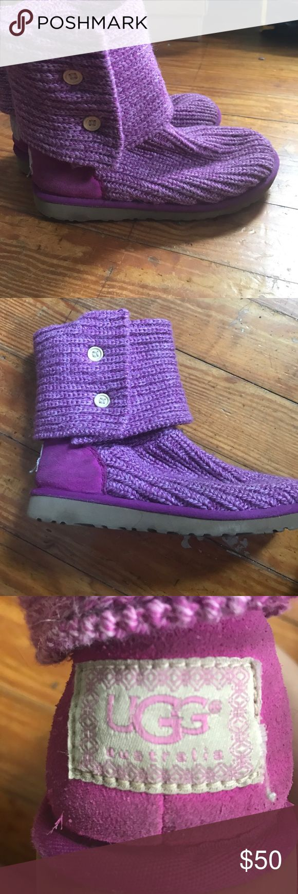 Knit kids uggs in the color cactus flower Preowned Cactus flower colored knot uggs for kids size 4 UGG Shoes Boots