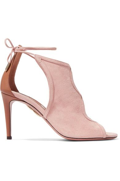 Aquazzura - Nomad Cutout Suede And Leather Sandals - Baby pink - IT