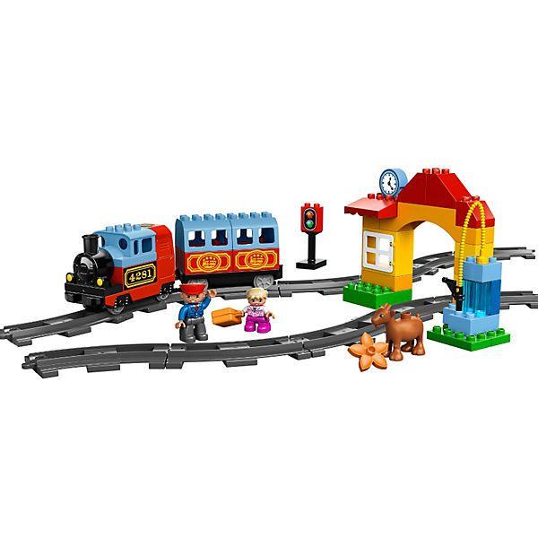 """Das Eisenbahn Starter Set (LEGO-Nr. 10507) ist für Kinder ein toller Einstieg ins Spiel mit dem Zug.<br /> <br /> """"Bitte Vorsicht am Bahnsteig, der Zug fährt ein!"""" Die Dampflock mit Geräuscheffekten ist in einem klassischen Design gehalten und passt gut in kleine Kinderhände. Das DUPLO-Mädchen kauft am Fahrkartenschalter ihr Ticket und steigt dann in den Passagierwaggon ein. Der Lokführer nimmt noch mal schnell die Tankpumpe und füllt den Zug auf, dann kann es..."""