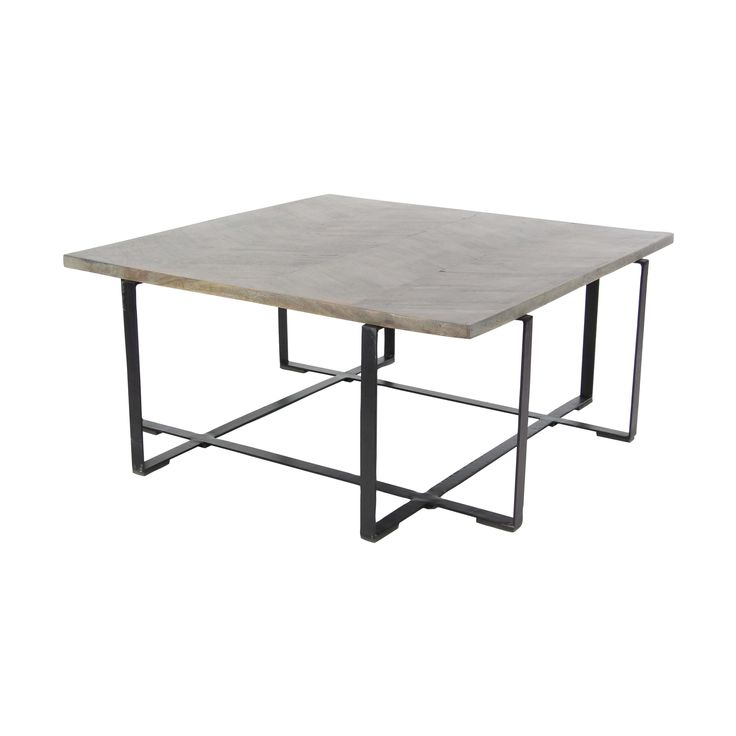 Studio 350 Modern Mango and Iron Chevron Coffee Table