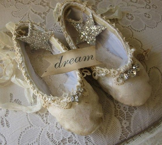 """Tutorial - Altered Ballet Slippers"" $5 ~ I love creating these precious slippers little altered slippers & think you will too. In this tutorial I show you how to take a pair of found slippers & turn them into something wonderful! If there's a tiny dancer in your life, don't just donate those old shoes, create a lasting memory. This is a downloadable PDF file w/ loads of color pictures & great instructions 