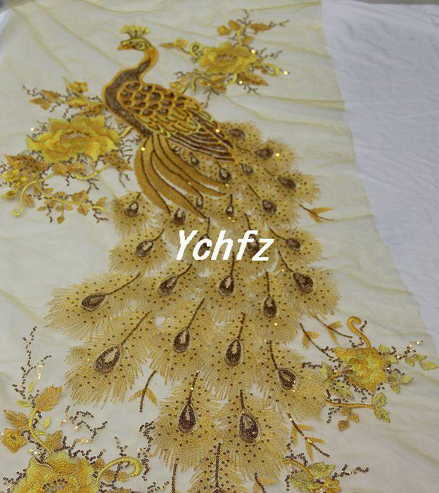 Aliexpress.com: Купить Золотой павлин марли вышивка цветок блестка кружева чонсам одежда ручной работы ткань из Надежный Ткань шнурка поставщиков на CCJY Store