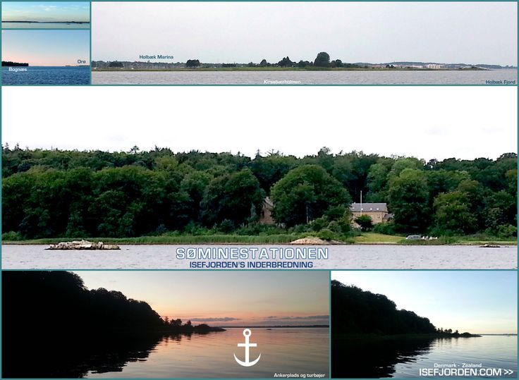 Collage with photos from the seamine-station in Isefjorden at Zealand/Denmark. Anchorplace..