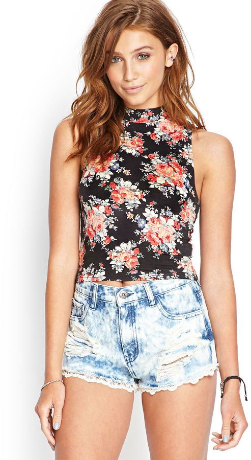 FOREVER 21 High-Neck Floral Keyhole Top is on sale now for  25 %! I like the top, but not the shorts.