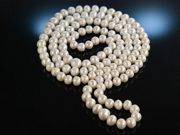 Charleston Style pearl necklace! Sensationelle lange dicke Süßwasser Zucht Perlen Kette Sautoir, endlos geknüpft, wundervoller Perlen Schmuck bei Die Halsbandaffaire München