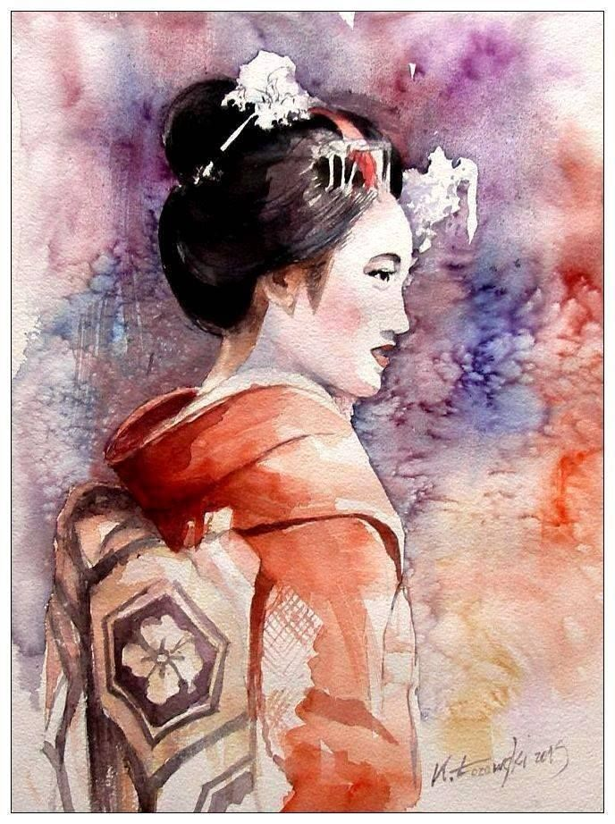 Geisha, watercolour, 40x30cm, for sale