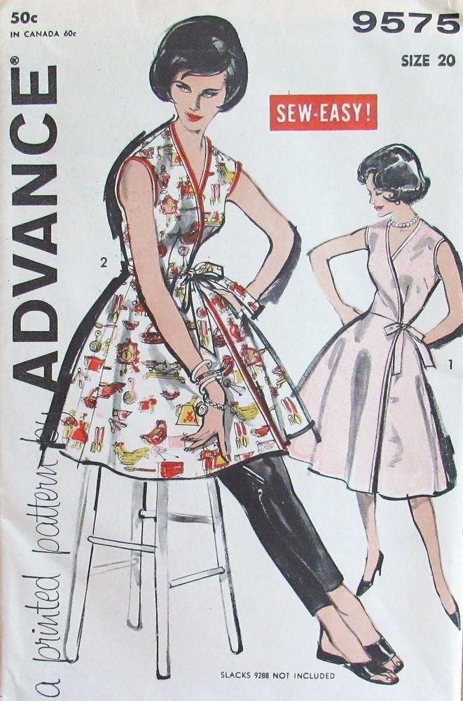 7bd66f0a Vintage 1960 Advance 9575 Womens S20 Apron Wrap Around Dress Tunic Pattern  UNCUT #Advance