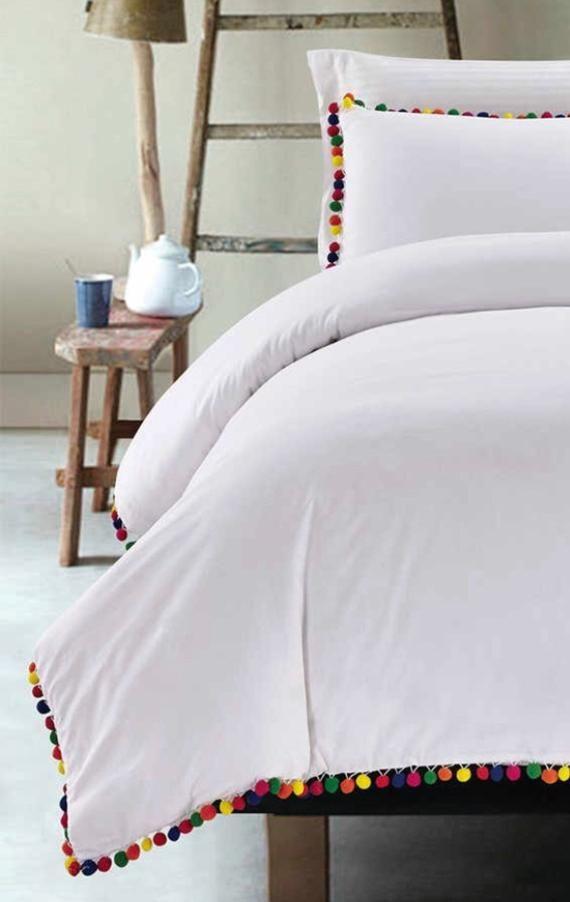 Boho Pom Pom Duvet Cover 3 Piece Bedding Set Full Queen