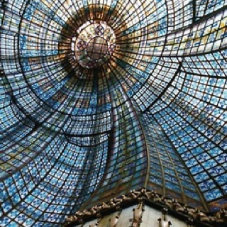 Impressive glass ceiling. Love the color scheme.