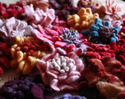 sweater felted flower pins
