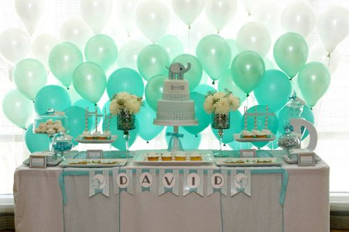 LOVE the Ombre Balloon backdrop for the dessert table