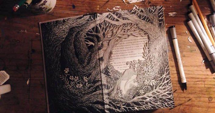 Isobelle Ouzman zo Seattlu vyrezávaním mení staré knihy na umelecké diela! Vytvára 3D ilustrácie, ktoré hovoria nové 3D príbehy. Upcyklácia, umenie, nápad