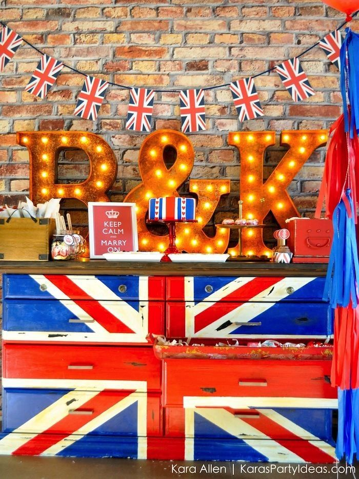 Keep Calm and Carry On Couples British themed Bridal Shower via Kara Allen KarasPartyIdeas.com #keepcalmandcarryon #bridalshower #couplesshower (12)