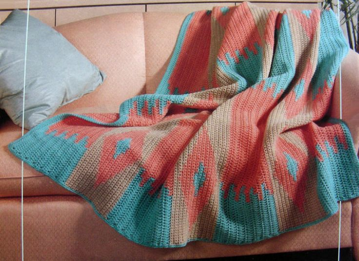 Crochet Patterns Navajo Afghan : CROCHET PATTERN ONLY ~ Navajo Afghan ~ Desert Colors at Sunset, South ...