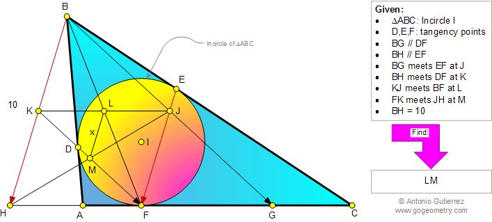 Geometry Problem 943: Triangle, Incircle, Inscribed Circle, Tangency Points, Parallel, Metric Relations. Level: High School, College, Mathematics Education.