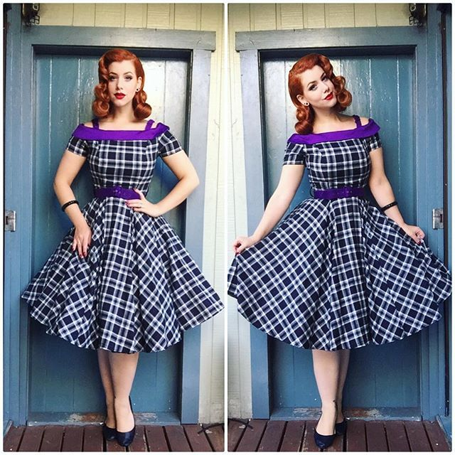 Tartan Off The Shoulder 1950s Style Carrie Swing Dress By Miss Fortune Pinup Model