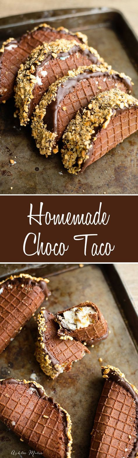 a video tutorial for how to make your own homemade choco tacos. slices of ice cream, wrapped in homemade chocolate waffle cones then dipped in chocolate and chopped peanuts @bluebunnyic #SunsOutSpoonsOut #Ad