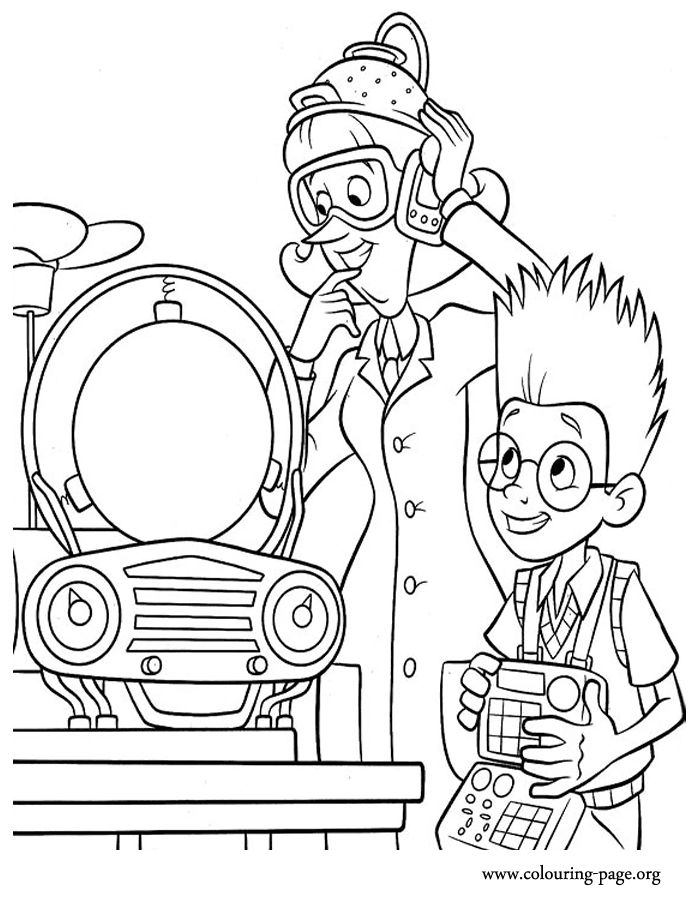 Meet the Robinsons - Lewis demonstrating his invention to Dr. Krunklehorn coloring page