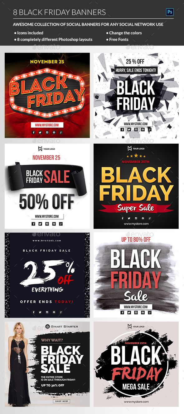 Black Friday #Banners - Banners & #Ads #Web Elements Download here:  https://graphicriver.net/item/black-friday-banners/18749770?ref=alena994