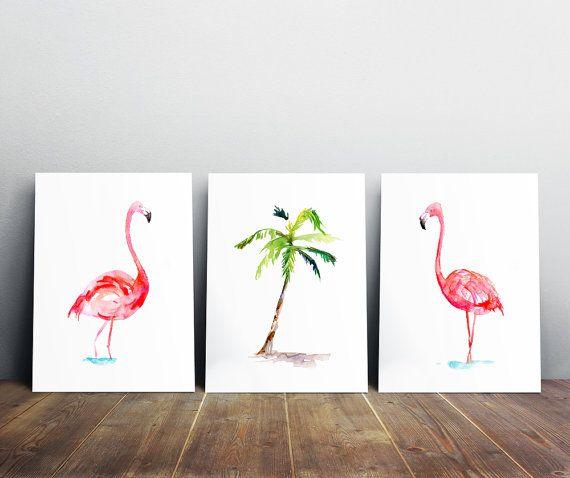 Flamingo schilderijen  set van 3 prints  Flamingo door Zendrawing
