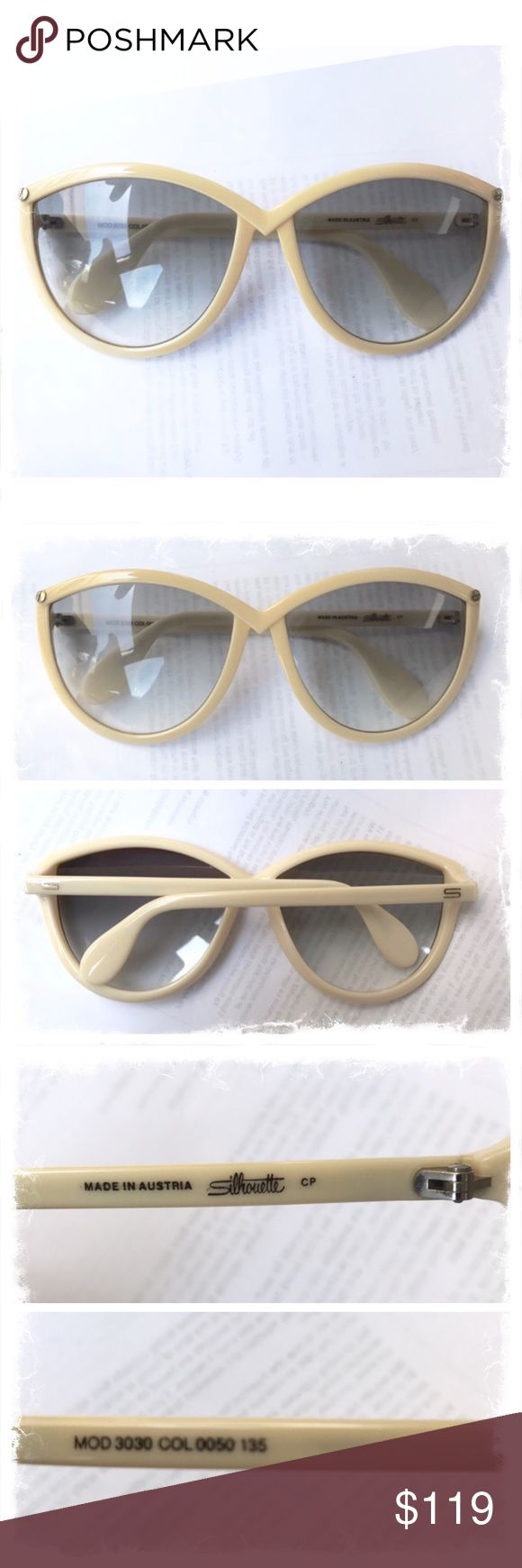 Vintage Silhouette Sunglasses, Ivory, Cateye Vintage Sunglasses by Silhouette, Made in Austria, 1980's   Model #3030 Color: Ivory  Inner Arm Right: MOD3030 Col 0050 135 Inner Arm Left: Made in Austria, Silhouette  Minor flaw- on the inside corners of each lens there is a little wear from where the arms have closed. Looking through them they seem perfectly clear but I wanted to point it out.  I wouldn't sell them if I wouldn't buy them, if that makes ya feel better. That said, pricing taking…