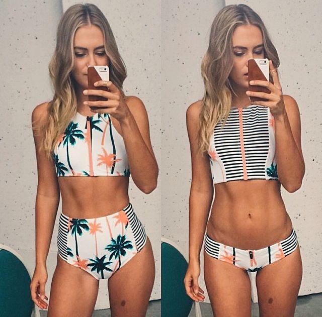 Three women in bikini swimwear