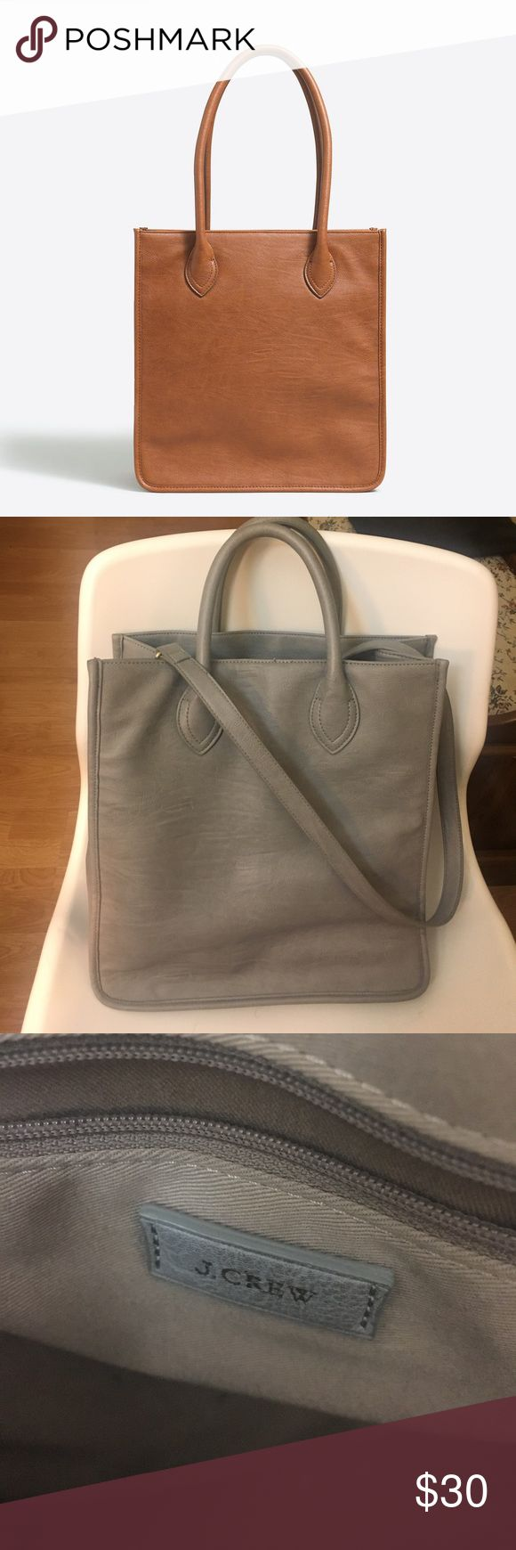 J CREW || VEGAN LEATHER TOTE BAG (GREY) Used but in great condition J. Crew Bags Totes
