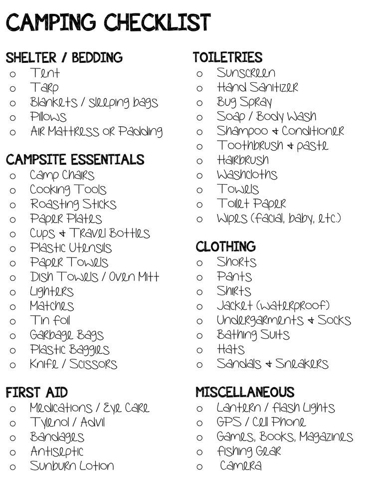 Simple Camping Checklist .... Summer Camping List